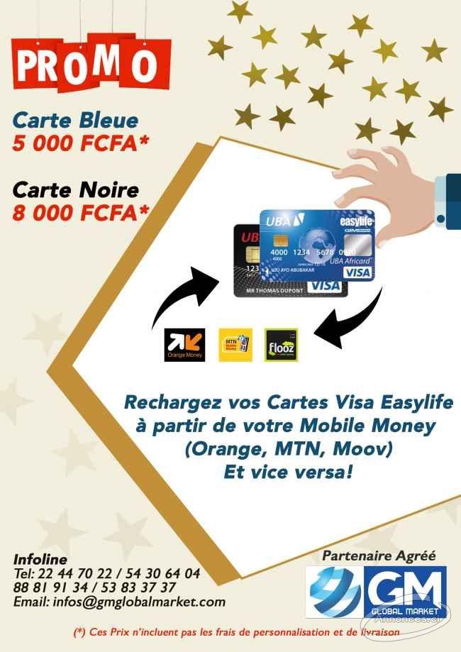 Carte Visa Prepayee Rechargeable Par Mobile Money En Promo 5000 Fcfa Annonce N 44126 Sur Annonces Ci
